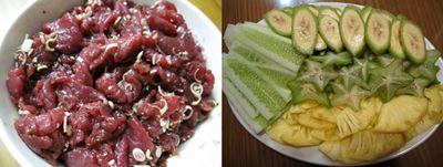 Sơ chế thịt bò và các nguyên liệu